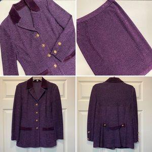 St John Blazer Skirt Set Wool Velvet Collar Tweed